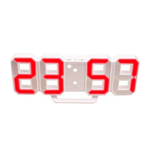 DIYARTS Digitaler Wecker Fashion Smart Elektronische Wanduhr 12H/24H Zeitanzeige Nacht Wanduhr Helligkeit einstellbar 3D Digitaluhr Wecker für Schlafzimmer Büro (Weiß - Rot)