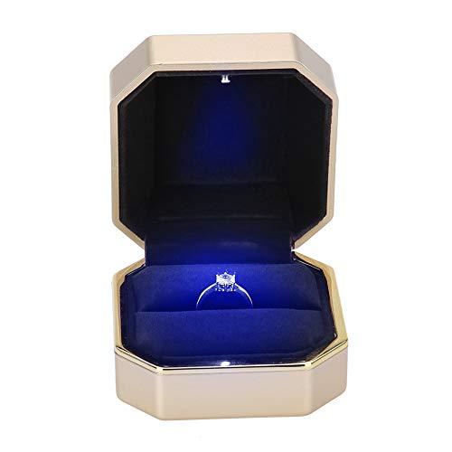 TMISHION Caja del Anillo LED de Bodas Collar, para Mujer Caja de Anillo de Terciopelo Boda/Proponer/del día de San Valentín Joyas Cajas de Regalo/joyería Caso