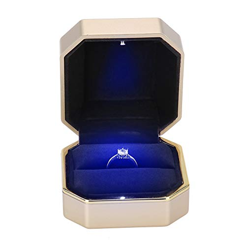 TMISHION Caja del Anillo LED de Bodas Collar, para Mujer Caja de Anillo de Terciopelo Boda/Proponer/del día de San Valentín Joyas Cajas de Regalo/joyería Caso (01#)