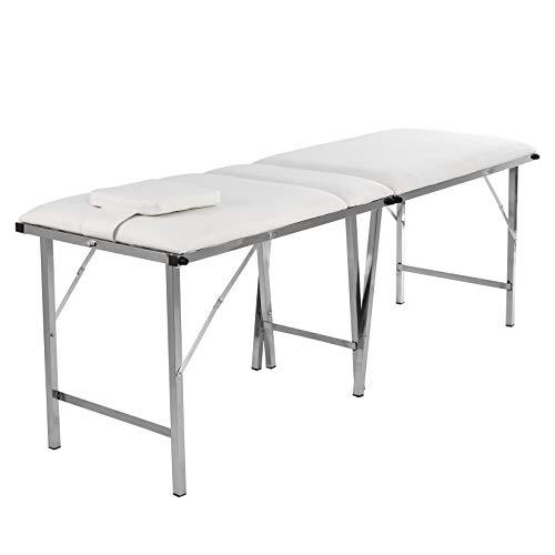 Table de massage pliable et portable avec 3 zones - Avec dossier réglable - Repose-tête amovible -...