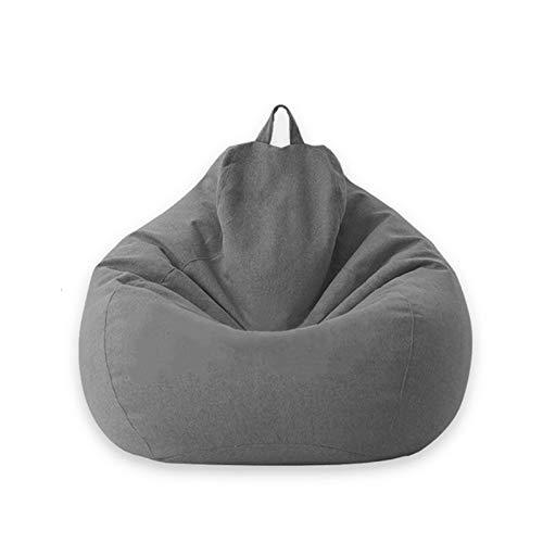 Puff - Puff Redondo Sofá Liso Diseño de Lino Simple para Adultos Y Niños, Sin Relleno para Suelo Grandes - Bean Bag,Dark Gray,100 *...