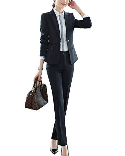 ShiFan Tailleur Donna Elegante Cappotto Ufficio Business Blazer Top Corto Ol Giacca da Abito Nero 2 L