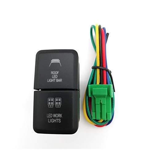 HEIFENGMUMA Estable 12 V Interruptor de Empuje Barra de luz LED for Toyota Landcruiser FJ Cruiser Hilux Hiace RAV4 Actuación