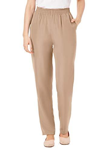 Woman Within Women's Plus Size Woven Pant - 20 W, New Khaki Brown