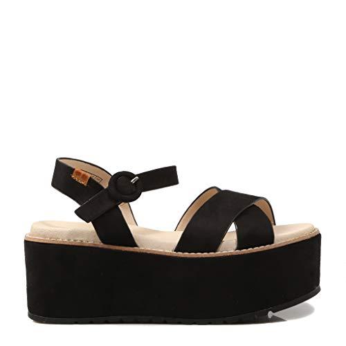 Coolway, Sandale Noire avec Plateforme pour Femme, 40