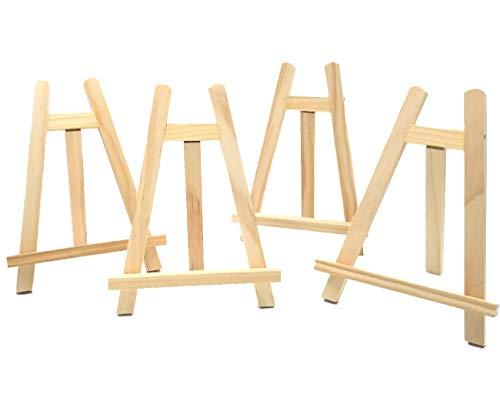 JZK® Klein Staffelei Tisch Mini Tafel Dreieck Holz Stand für halten A3 A4 A5 A6 Schild Poster Foto Memo Bild Malerei Karte Menü Platzkarten (4 x, 27 x 20 cm)
