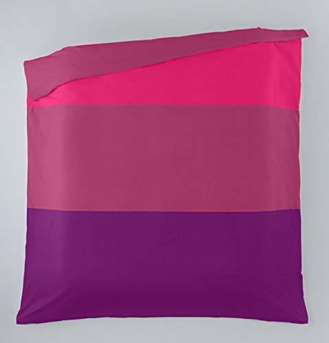ESTELA - Funda nórdica Liso Tricolor (1 Pieza) - Colores: Chicle-Fucsia-Morado - Cama de 105 cm. - 50% Algodón / 50% Poliéster - 144 Hilos