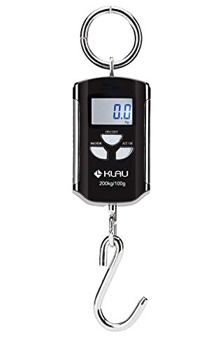 Fish Scale,Klau Portable 200 kg / 400 lb Heavy Duty Digital Hanging Scales LCD Display with Backlight for Home Farm Market Hunting Black and Silver