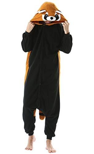 Jumpsuit Onesie Tier Karton Kigurumi Fasching Halloween Kostüm Lounge Sleepsuit Cosplay Overall Pyjama Schlafanzug Erwachsene Unisex Rot Panda for Höhe 140-187CM Damen Herren