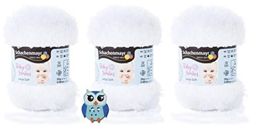3x25 Gramm Schachenmayr Baby Smiles Lenja Soft Nr. 1001 Weiss aus 100% Polyester Speichelecht, Schadstoffgeprüft, Hautfreundlich + 1 Eulen Knopf Holz zum aufnähen