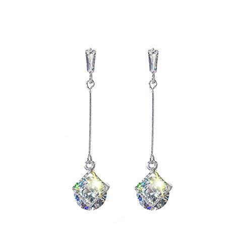 Geometrische vierkante flash diamanten oorbellen eenvoudige temperament lange paragraaf dames oornagels tij oorbellen