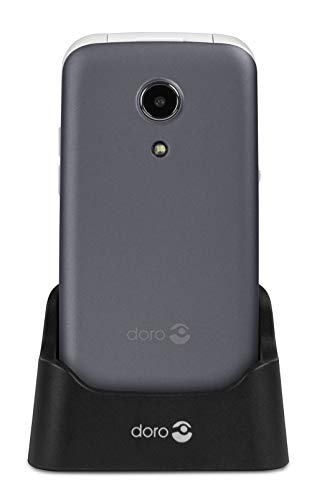 Doro 2414 Téléphone Portable 2G à Clapet Débloqué pour Seniors avec Grandes Touches, Touche d'Assistance et Socle Chargeur Inclus [Version Française] (Gris)