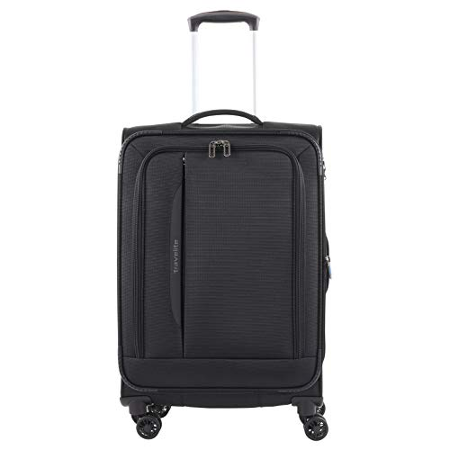 travelite 4-Rad Weichgepäck Koffer Größe M mit Dehnfalte + TSA Schloss, Gepäck Serie CROSSLITE: Robuster Trolley im Business Look, 089548-01, 67 cm, 69 Liter (erweiterbar auf 80 Liter), schwarz