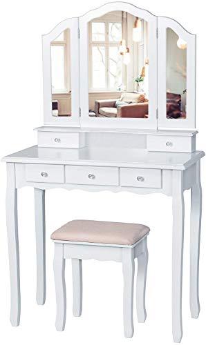 EPHEX Schminktisch mit 3 Spiegel und 5 Schubladen und einem Hocker, Schminktisch Dekos, Luxuriös Schminktisch mit Kippsicherung, Vanity Table 140 x 80 x 40 cm (Weiß)