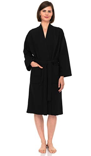 TowelSelections Women's Robe, Kimono Waffle Spa Bathrobe X-Small/Small Phantom Black