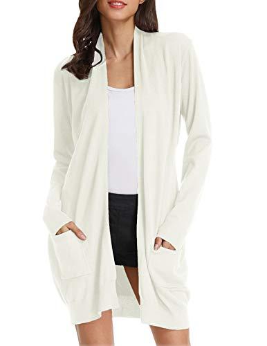 GRACE KARIN Women's Boyfriend Cardigan Knit Sweater for Women(XL,Ivory)