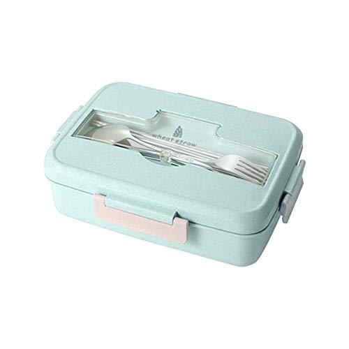 Kitchnexus 3-Fächer Weizenstroh Lunchbox Brotdose Kinder Frühstücksbox Mikrowelle Bento Box Picknick Aufbewahrung Behälter für Kinder Erwachsener