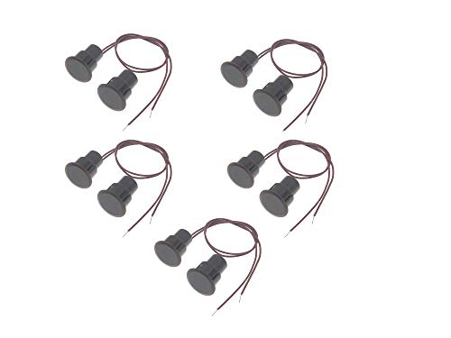 RESALET 5 Sets Magnetic Reed Switch Alarm NC Normally Closed Recessed Wired Contact Sensor for Window Door Security System Brown RC-36