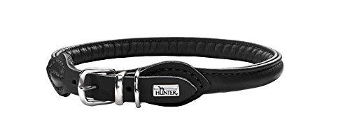 HUNTER Round & Soft Hundehalsband, Leder, Nappa, rundgenäht, weich, 50 (M), schwarz