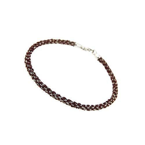 Etru Juwelen Handgemaakte Vrouw Armband Tondo Wit Zilver gaas en Violet draad
