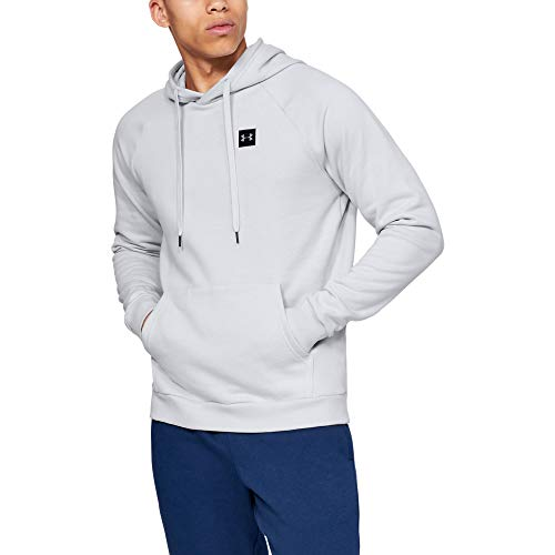 Under Armour Men's Rival Fleece Hoodie, Halo Gray (014)/Black, X-Large