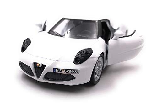 Onwomania 4c sportwagen modelauto met kentekenplaat naar wens, diverse Kleuren schaal 1:34 (gelicentieerd) wit