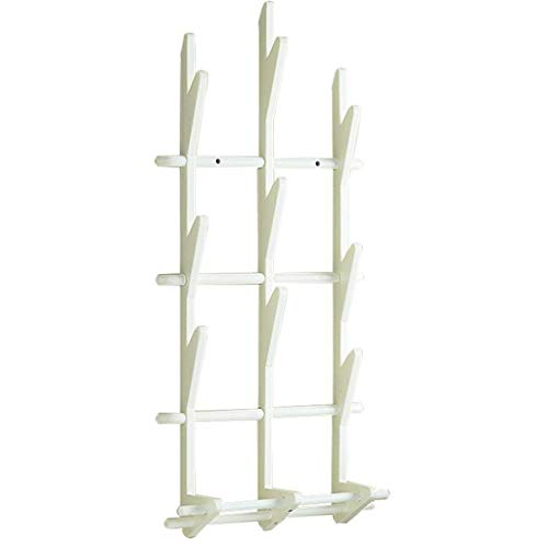 Kapstok Stand Multifunctionele Muur for Corridor Houten Heavy Kleding kapstok 9 Hook (Kleur: wit) LQH (Color : White)