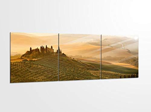 Acrylglasbilder 3 Teilig 150x50cm Landschaft Belvedere Toskana_ Acrylbild Bilder Acrylglas Wand Bild Kunstdruck 14?5490, Acrylglas Größe 6:BxH Gesamt 150cmx50cm
