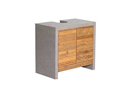 Woodkings® Waschbeckenunterschrank Burnham Echtholz Pinie Natur rustikal mit MDF Beton Optik grau Badmöbel Badezimmer Badezimmerschrank Badschrank Bad Unterschrank Massivholztüren