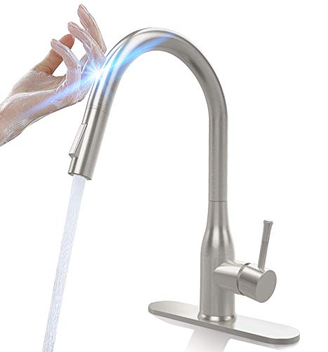 CWM Touch Kitchen Faucets with Pull Down Sprayer Stainless Steel Kitchen Sink Faucet with Pull Out Sprayer Single Handle Touch Activated Faucet with Two Water Modes 16.5 inch with Deck Plate