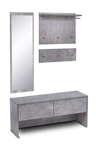 ts-ideen 4 teiliges Garderobenset Wandgarderobe Flurgarderobe mit Spiegel und Sitzbank Kommode in Beton Grau