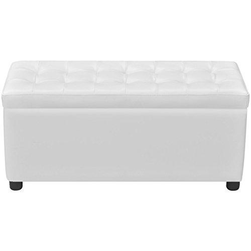 Festnight Baúl de Almacenamiento Tapizado con Cuero Artificial y Botones Color Blanco 87,5 x 36 x 45,5 cm Largo x Ancho x Alto