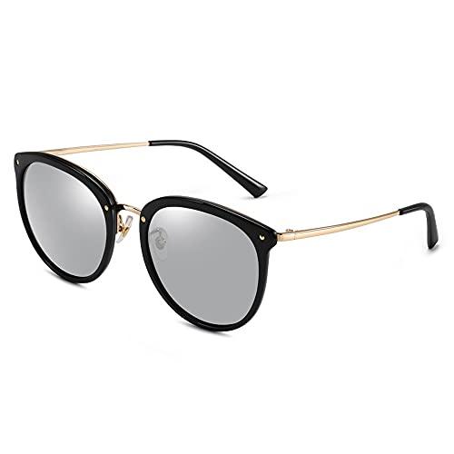 Polarisierte Sport-Sonnenbrille für Damen, zum Autofahren, Radfahren, Laufen, Premium, Militär-Stil, klassische Piloten-Sonnenbrille, polarisiert, 100% UV-Schutz (Farbe: Silber (schwarzer Rahmen))
