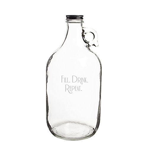 """Cathy's Concepts""""Fill. Drink. Repeat."""" Craft Beer Growler, Clear"""