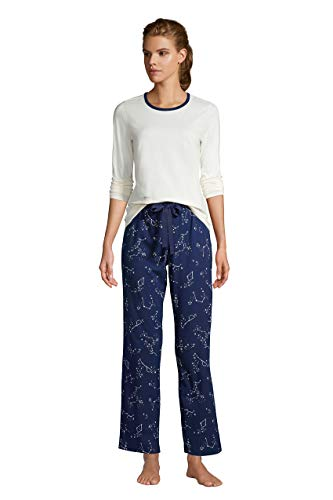 Lands' End Women's Knit Pajama Set Long Sleeve T-Shirt and Pants
