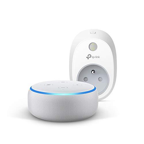 Echo Dot (3ème génération), Tissu sable + TP-Link HS100 Prise connectée Wi-Fi,...