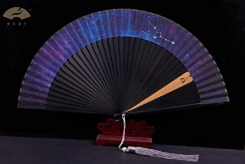LYRLNY Folding Fan, 1Pc Twaalf Constellatie Weegschaal Sterrenhemel Vouwen Fan Chinese Stijl Vintage Dancing Folding Fan