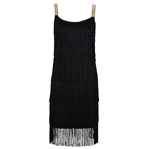 Ro Rox Bebe Vestito della Falda con Fasce Stile 1920 Great Gatsby Party - Nero (40)