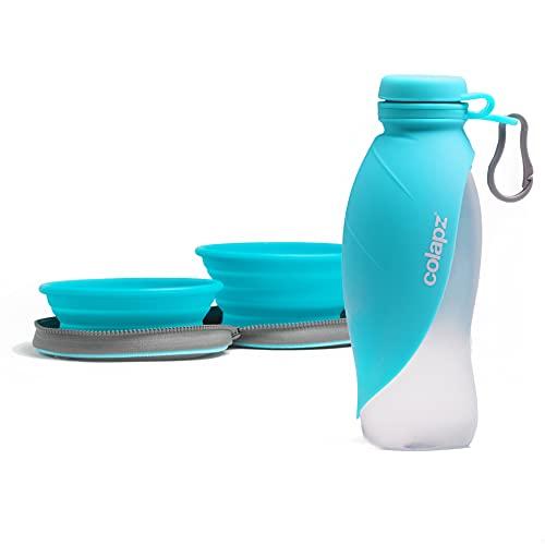 Dos cuencos plegables para perros y un juego de viaje portátil para botellas de agua para perros - Accesorios para mascotas y cachorros - Tazón plegable con dispensador de agua y comida - Azul