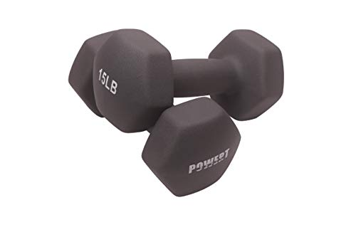 POWERT HEX Neoprene Dumbbell |Coated Colorful Hand Weights in Pair (I-15 lbs)