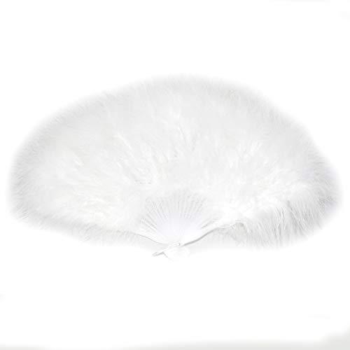 FANSOF.FANS Ventilador de Mano de Plumas de marabú 45 cm, Vestido, Regalo de Fiesta de Boda, sesión de Fotos de Baile Vintage al Aire Libre (Blanca)
