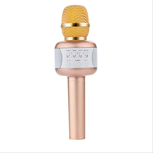 RRYM Microfoons Karaoke Microfoon Draadloze Bluetooth Speaker Draagbare Muziek Speler Ondersteuning Android iOS met Disco Lights KTV Sing B Goud