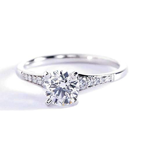 Anillo de compromiso de platino con diamante redondo de 0,85 quilates, VS2 F graduado