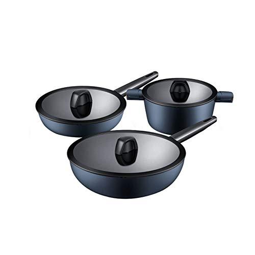 CHENTAOCS Juego de ollas de zafiro, sartén antiadherente, juego de cocina de wok de tres piezas, sartén wok de 30 cm + sartén plana de 24 cm + olla de sopa versión simple de 24 cm, sin olla de humo de