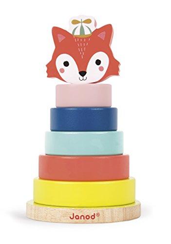 Janod - Baby Forest - Jeu Empilable Renard en Bois Baby Forest - Jouet d'éveil Motricité et Manipulation - dès 1 An, J08014, Multicolore