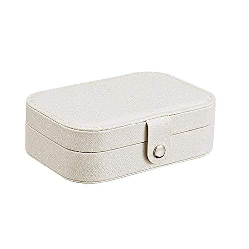 Goodjobb Organizer Display Storage Case Caixa de jóias de 2 camadas Simple Ring Ear Stud Plate para meninas Mulheres que viajam, pequeno Case cilíndrico de armazenamento para brincos Colares Pulseiras Anéis Branco