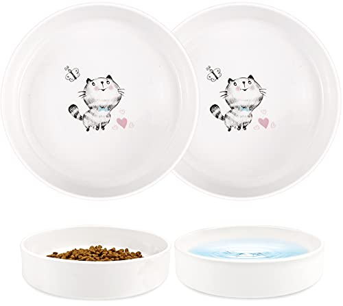 Dynmeow 2 Pack Ceramic Cat Bowls, Cat Food and Water Bowl Set, Cute Whisker-Friendly Pet Dish for Indoor Cats and Kitten, 12 OZ × 2Pcs, Butterfly Pattern