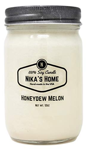 Nika's Home Honeydew Melon 12oz Mason Soy Candle