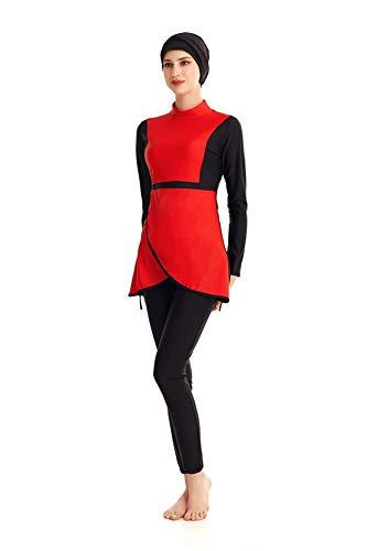 Bescheidene muslimische Badebekleidung Islamischer Badeanzug Hijab mit voller Deckung Badeanzug Beachwear Bikini (Red, XXX-Large)