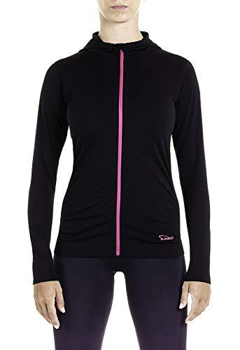 XAED Damen Fitness Sportshirt mit Reißverschluss und Kapuze, Schwarz/Fuchsia, Medium